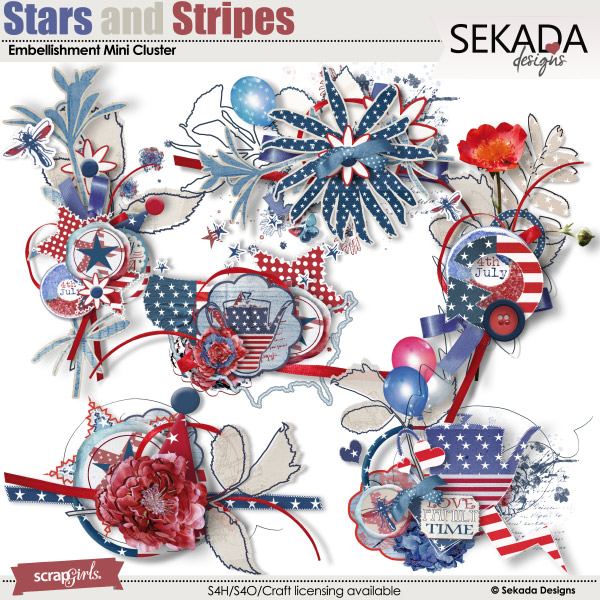 Stars And Stripes Embellishment Mini Cluster