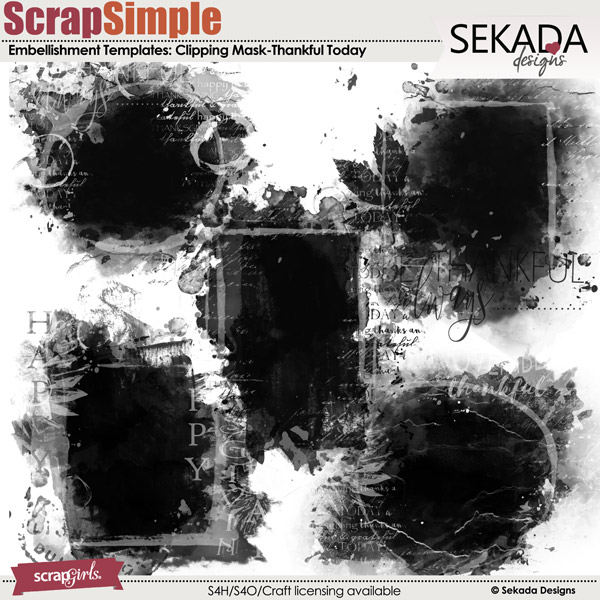 ScrapSimple Embellishment Templates: Thankful Today Clipping Mask