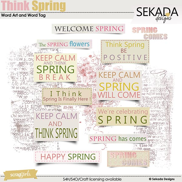 Think Spring Word Art and Word Tag