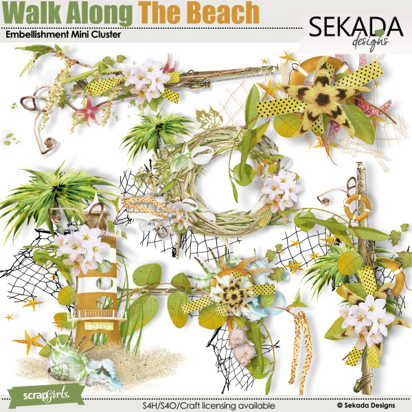 Walk Along The Beach Embellishment Mini Cluster