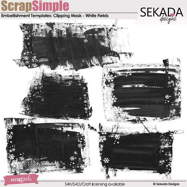 ScrapSimple Embellishment Templates: White Fields Clipping Mask
