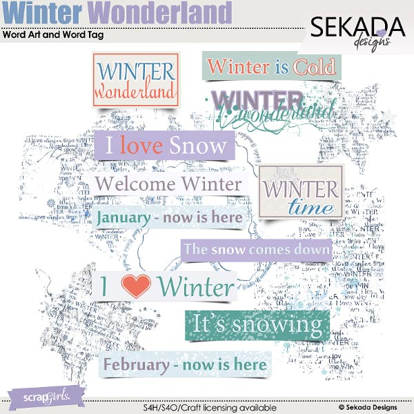 In A Winter Wonderland Word Art and Word Tag