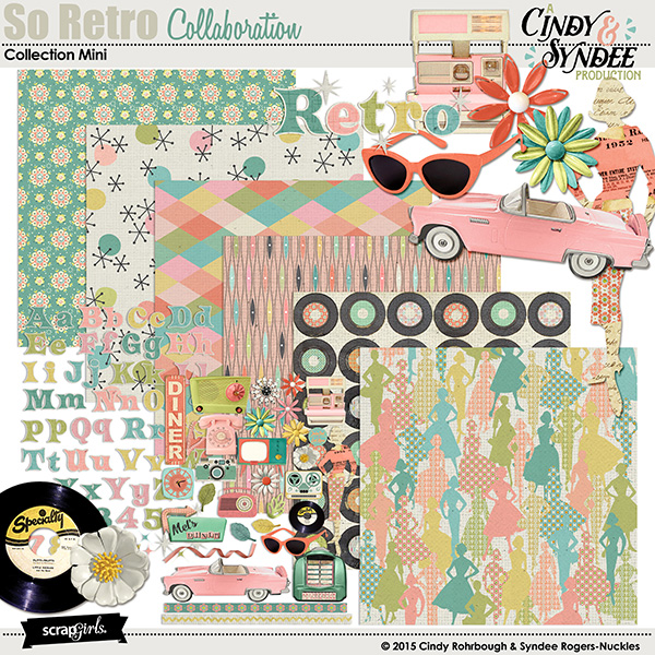So Retro digital scrapbooking kit by Cindy Rohrbough and Syndee Nuckles