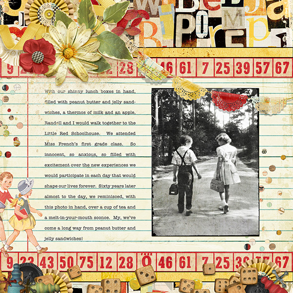 Layout using One, Two, Buckle My Shoe Kit by Joyce Schardt (Supplies Below)