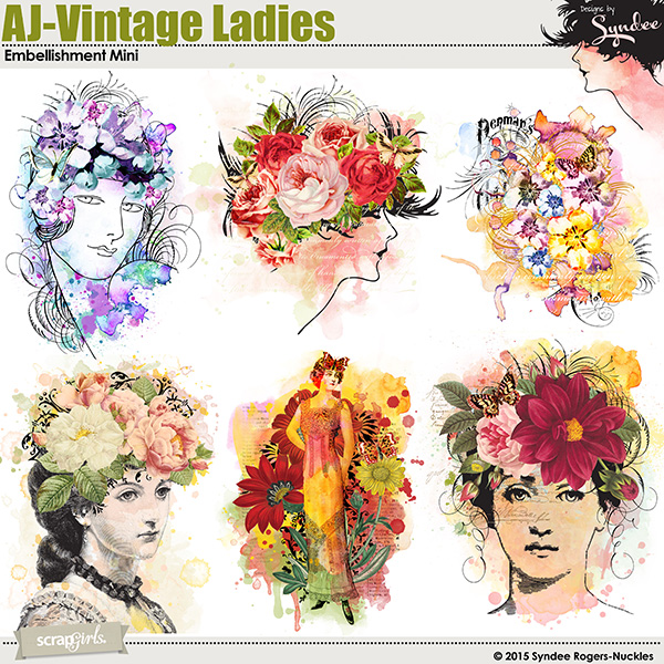 Art Journal Vintage Ladies Embellishment Mini