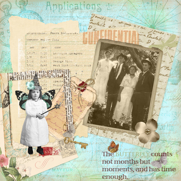 Layout by Syndee Nuckles using Assemble Your Own Collage Art-Children, SS Paper: Melange, Fleur Collection Mini, Grandma's Letters Emb, Ledger Paper, Affection Paper, Gathered Beauty & Fit To Be Tied Emb, Aged Frames Emb, SS Emb Temp:Hodge Podge Colla