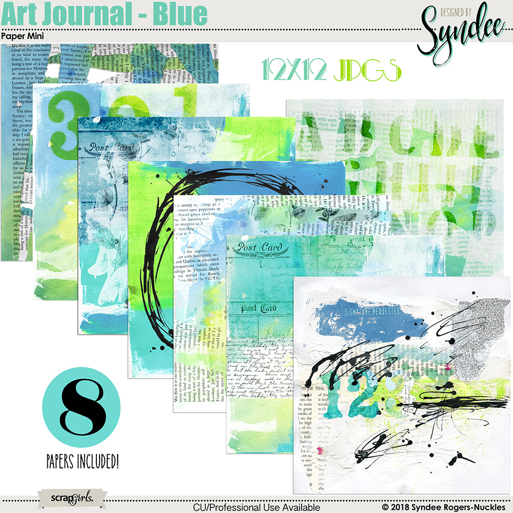 Art Journal Blue Digital Papers