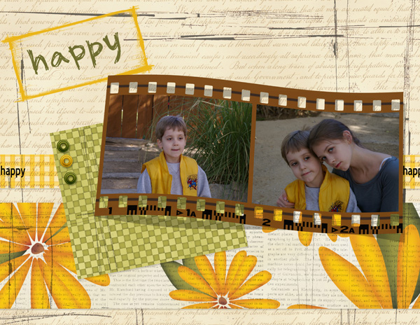 Layout by Syndee using ScrapSimple Embellishment Templates: 3-D Negative Frames and Tints and Tatters Collection Biggie