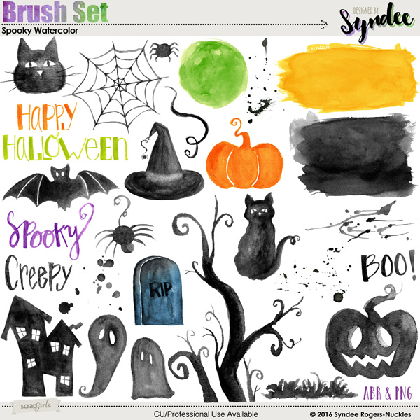 Spooky Watercolor Halloween Brushes