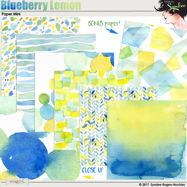 Blueberry Lemon Watercolor Backgrounds