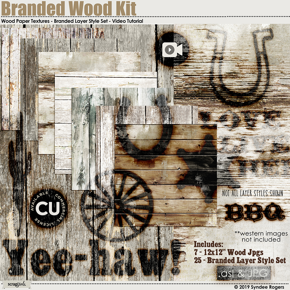 Branded Wood Texture and Layer Style Kit