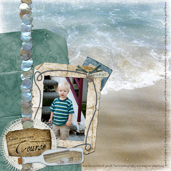 Layout by Laurel Lakey uses By the Sea Collection Mini, ScrapSimple Emb Temp: Woven Whatnots & SS Emb Temp: Old Photo Frames