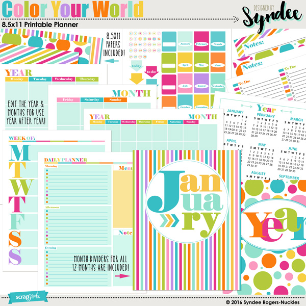 Colo Your World Editable Planner