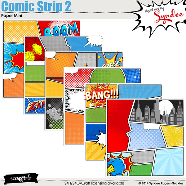 Digital Scrapbooking Kit Scrapsimple Paper Templates: Comic Strip
