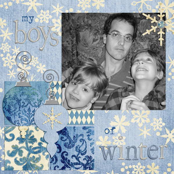 Layout by Syndee Nuckles using ScrapSimple Paper Templates: Arctic Holiday, Blue Christmas, Christmas Pointsettia Silver Alpha and ScrapSimple Layer Your Own Christmas Ornaments