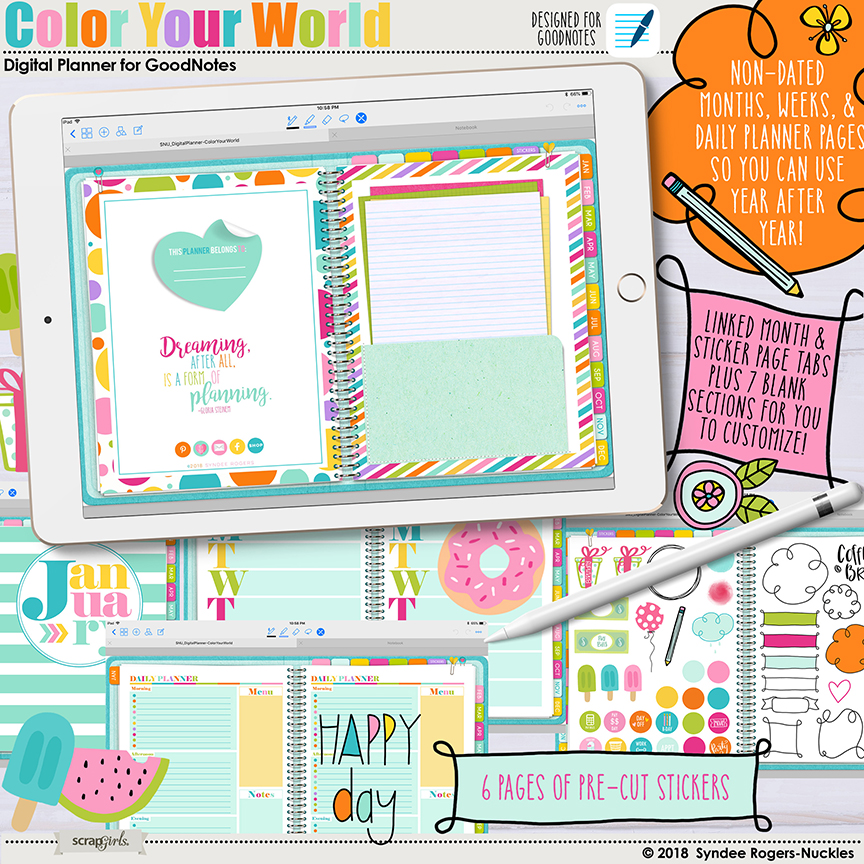 Color Your World Digital Planner for GoodNotes