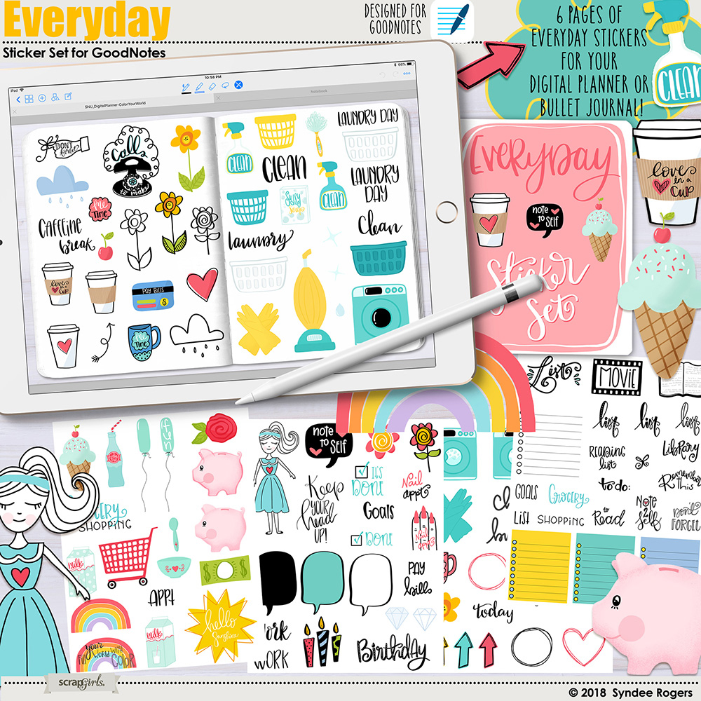 Everyday Digital Stickers for GoodNotes