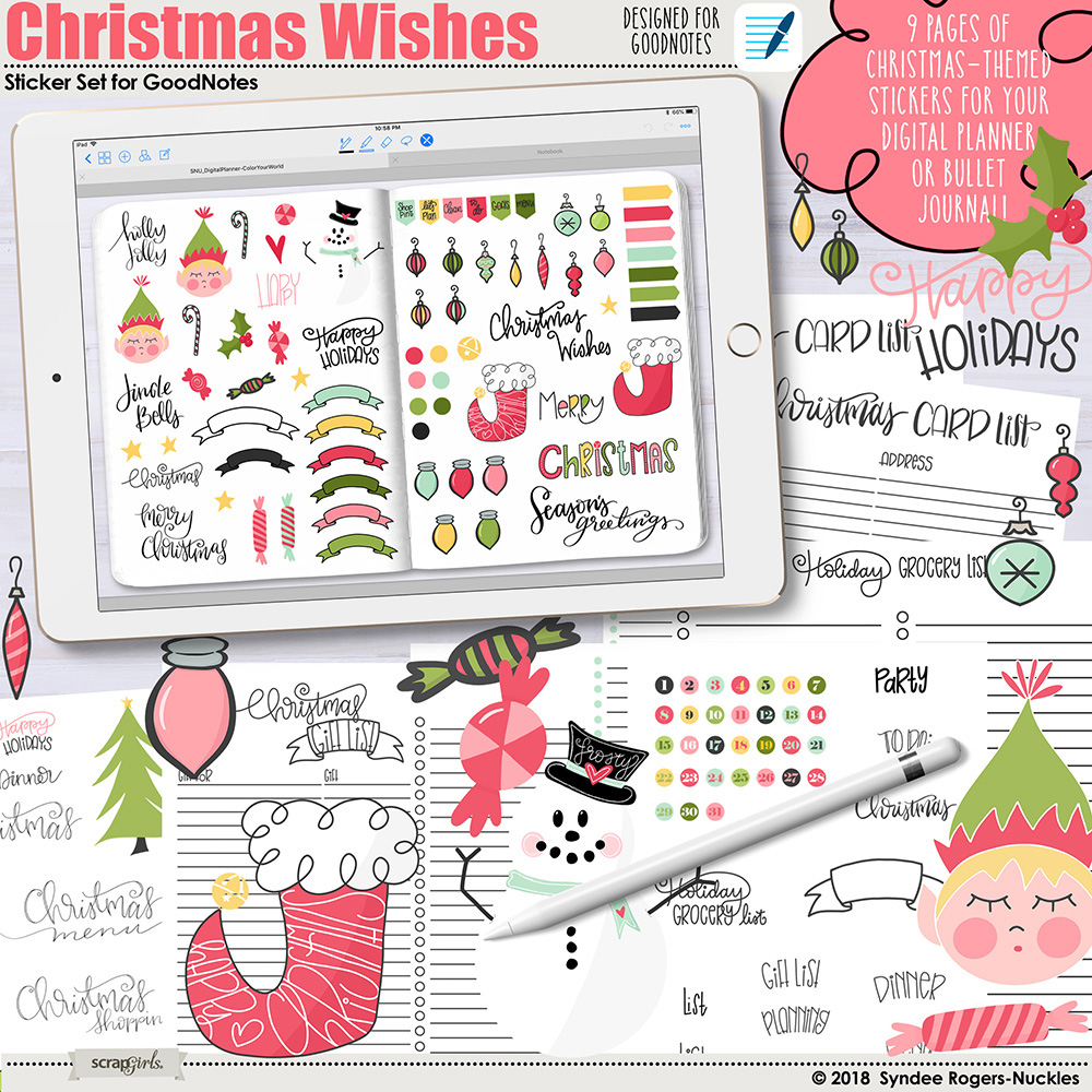 Christmas Wishes Digital Stickers for GoodNotes