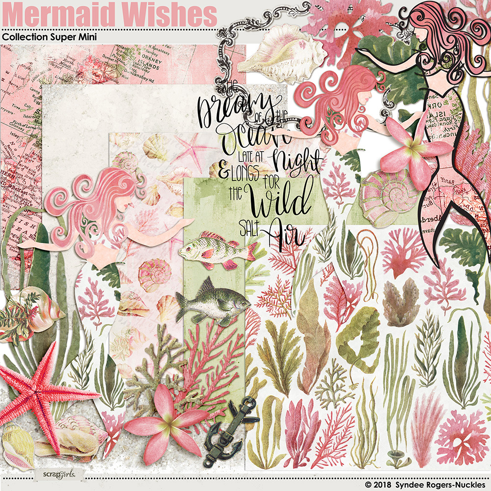 Mermaid Wishes digital images and backgrounds