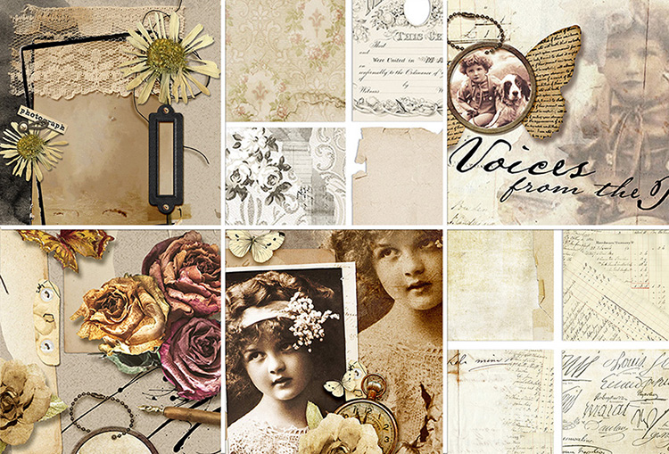 Zoomed in view of Embellishments, Papers and other ScrapSimple Templates included in this month's ScrapSimple club