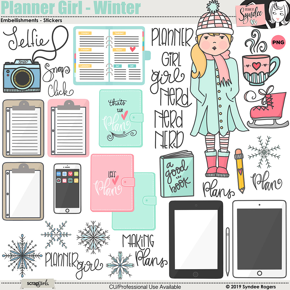 Planner Girl - Winter Embellishments Illustrations