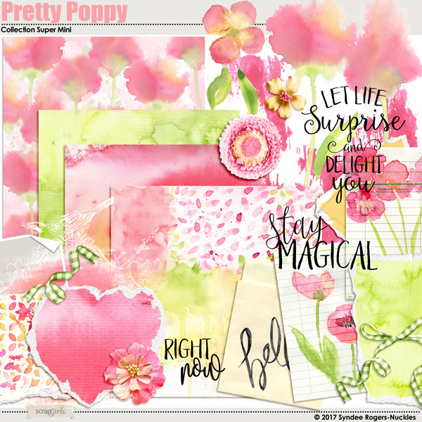 Pretty Poppy Watercolor Digital Kit