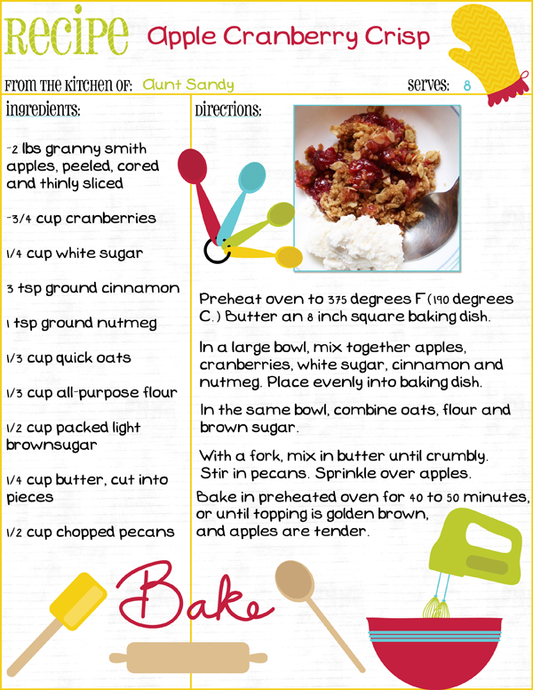 Printable Recipe Page by Syndee