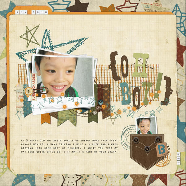 Digital scrapbook layout by Armi Custodio (See supply list below)