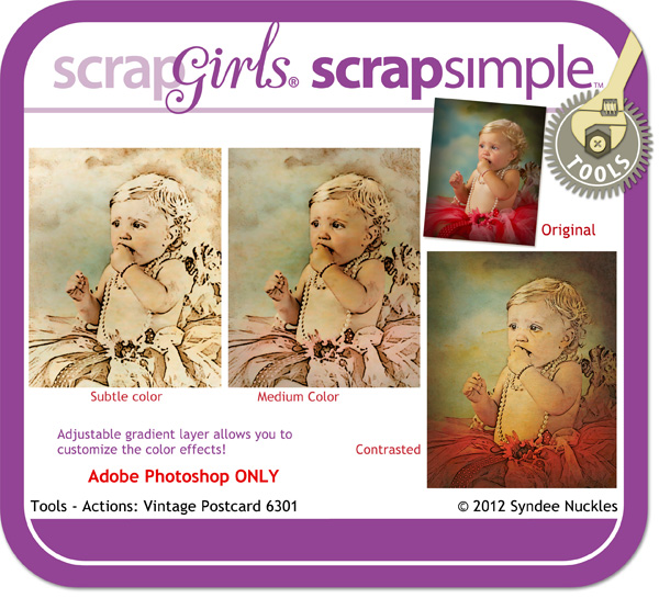 ScrapSimple Tools - Actions: Vintage Postcard 6301 Mini