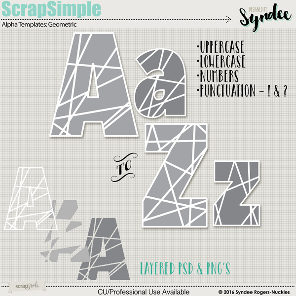 Digital scrapbooking kit ScrapSimple Alpha Templates: Geometric, by ...