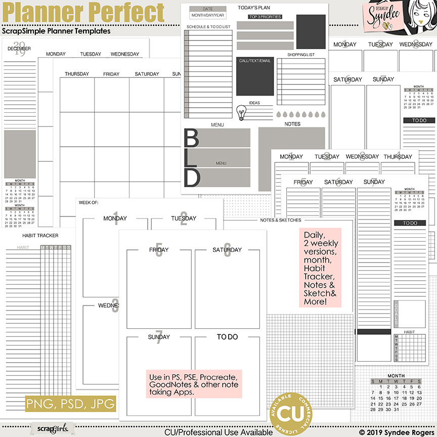 Planner Perfect customizable printable templates