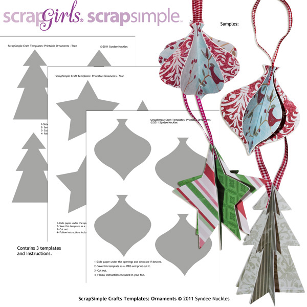 Scrapsimple Craft Templates Ornaments