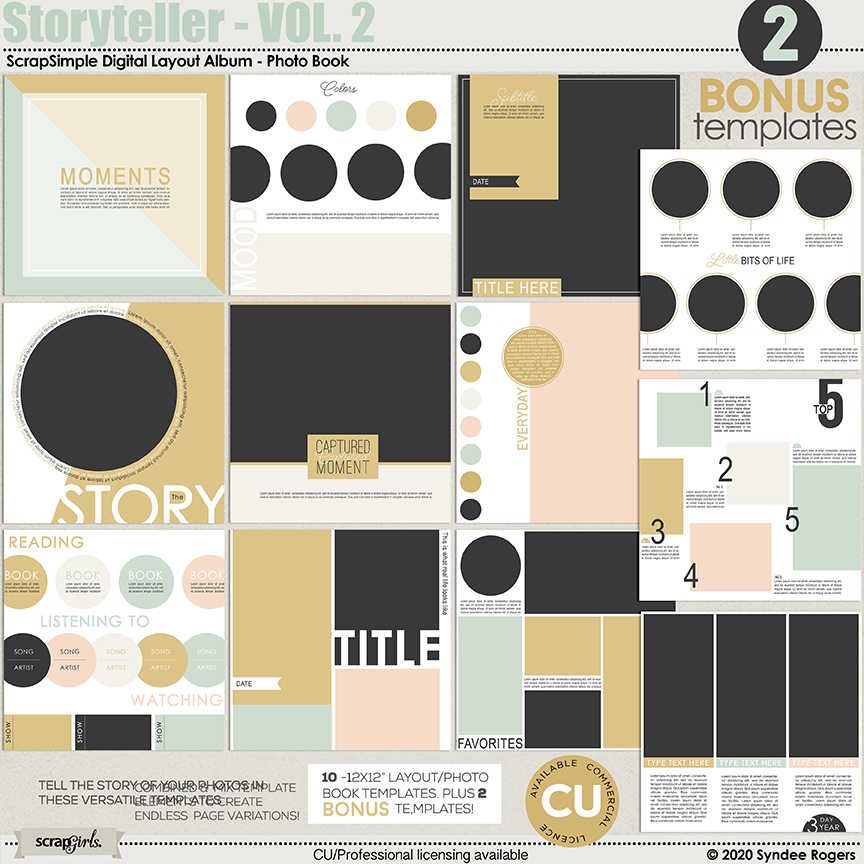 Storyteller Photo Book and Layout Templates Vol. 2