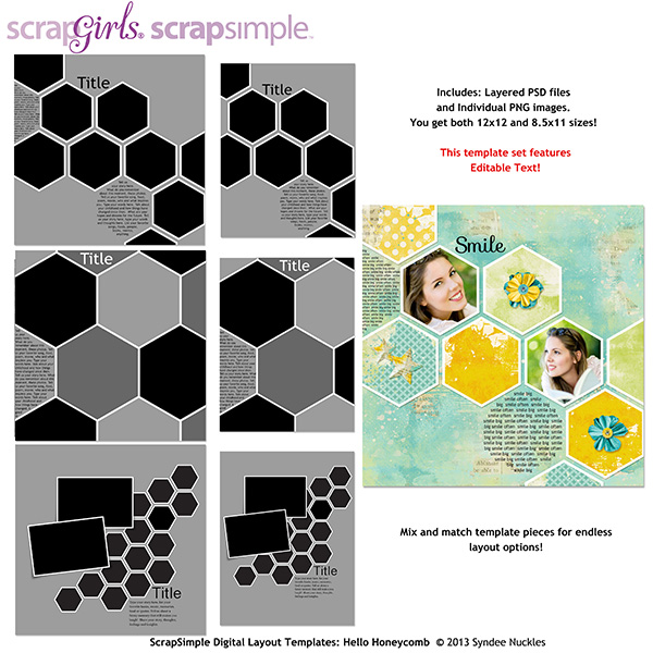 ScrapSimple Digital Layout Templates: Honeycomb