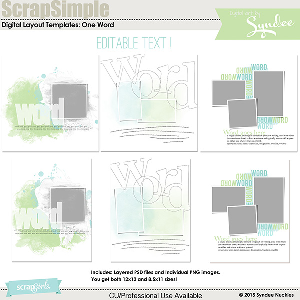 ScrapSimple Digital Layout Templates: One Word