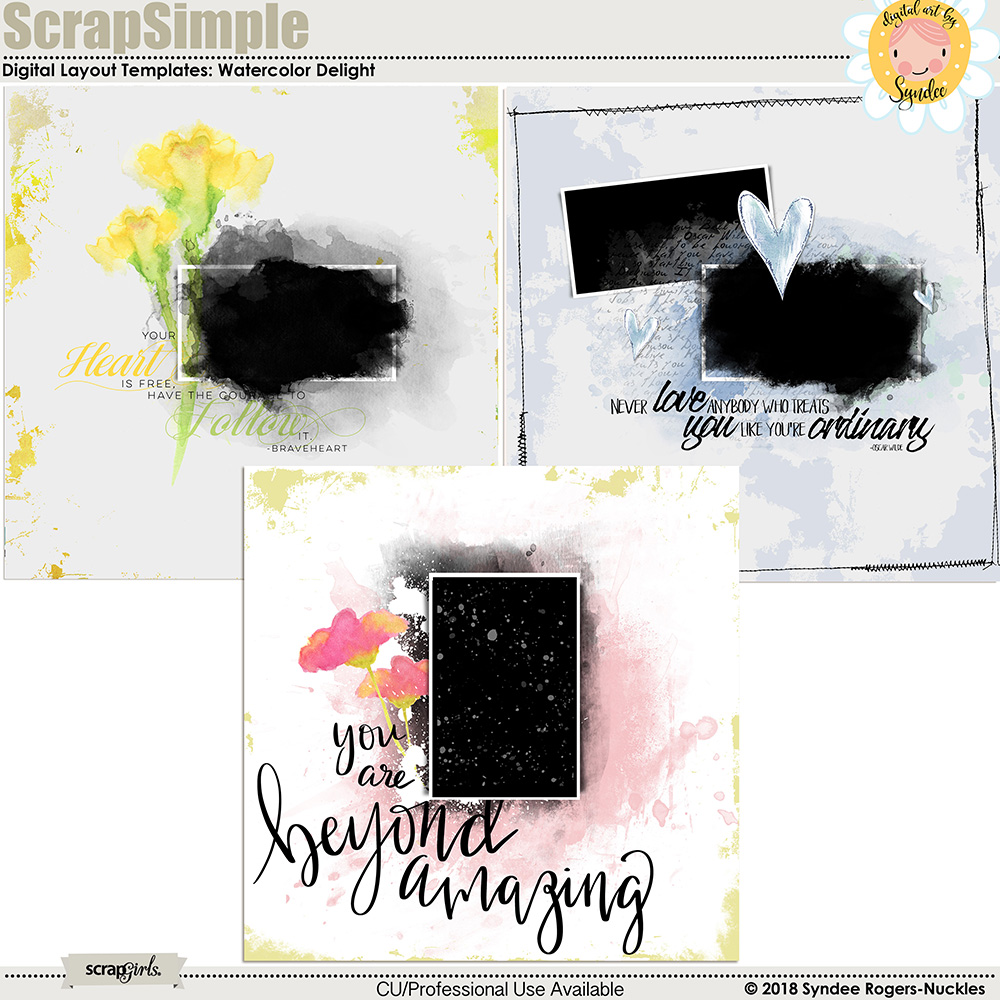 Watercolor Delight digital layout templates