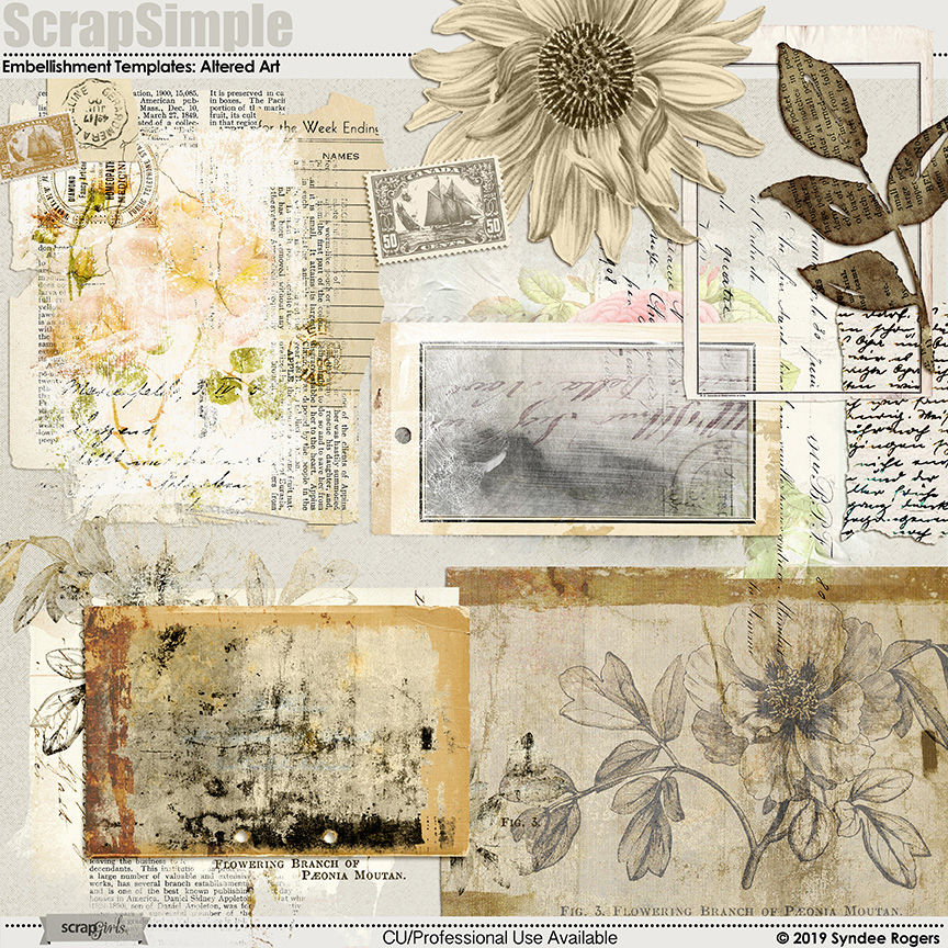 Altered Art Embellishment Templates