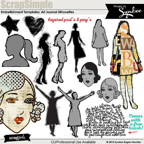 SS Embellishment Templates: Art Journal Silhouettes