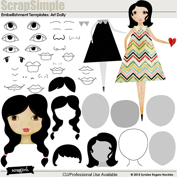 Art Dolly Embellishment Templates