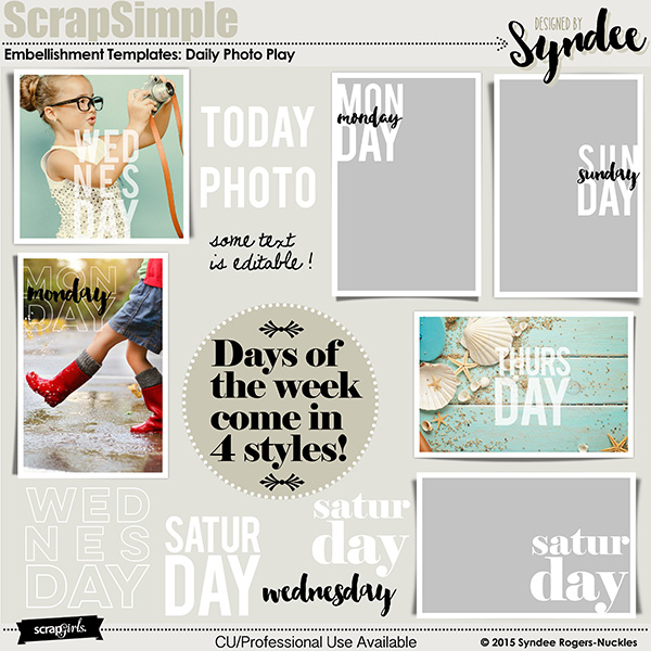 Daily Photo Play embellishment templates