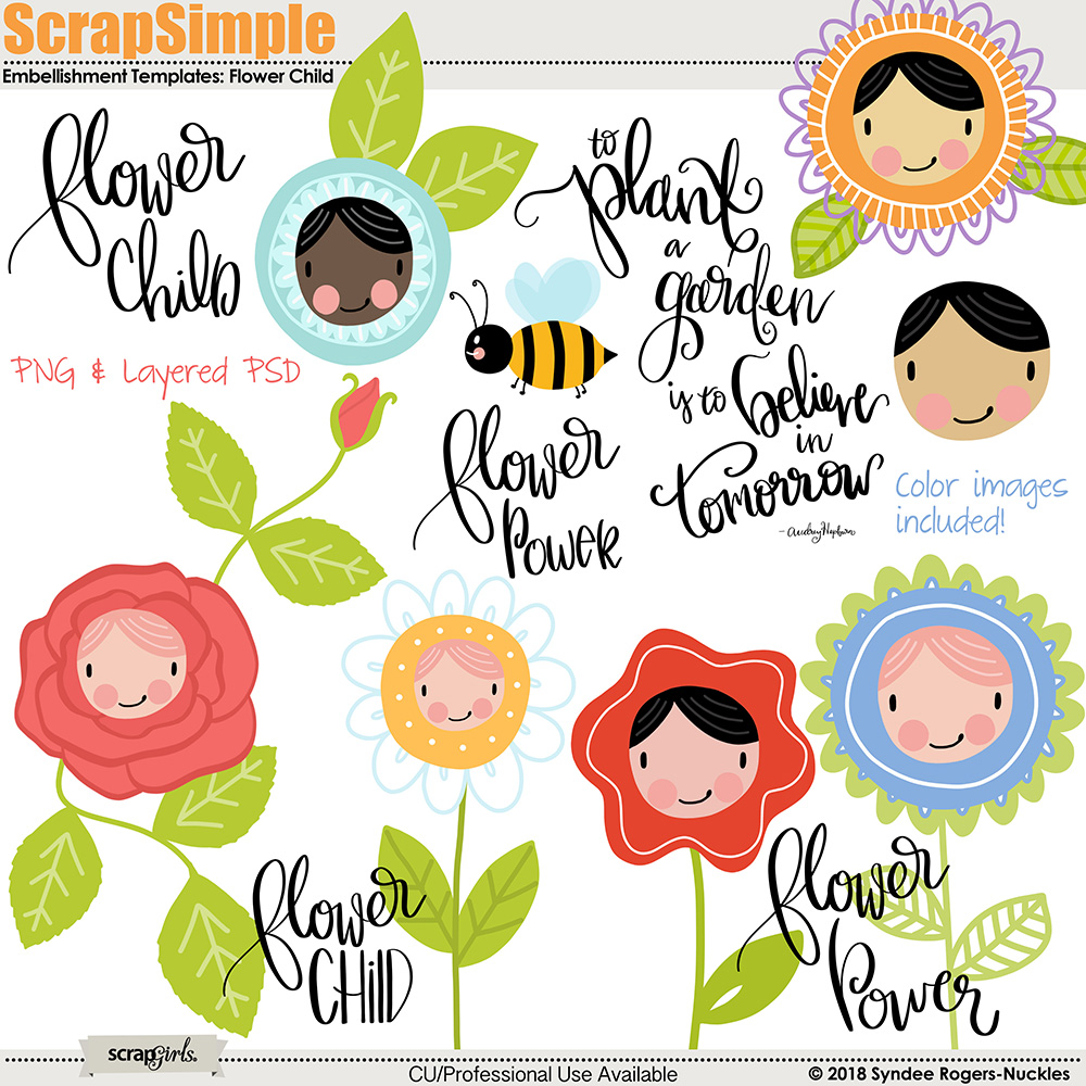 Flower Child Embellishment Templates