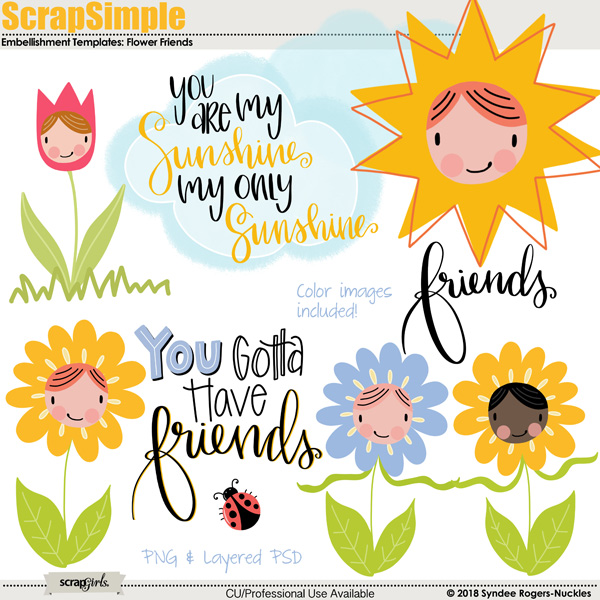 Flower Friends Embellishment Templates
