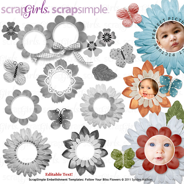 Coordinates with: ScrapSimple Embellishment Templates: Follow Your Bliss Flowers