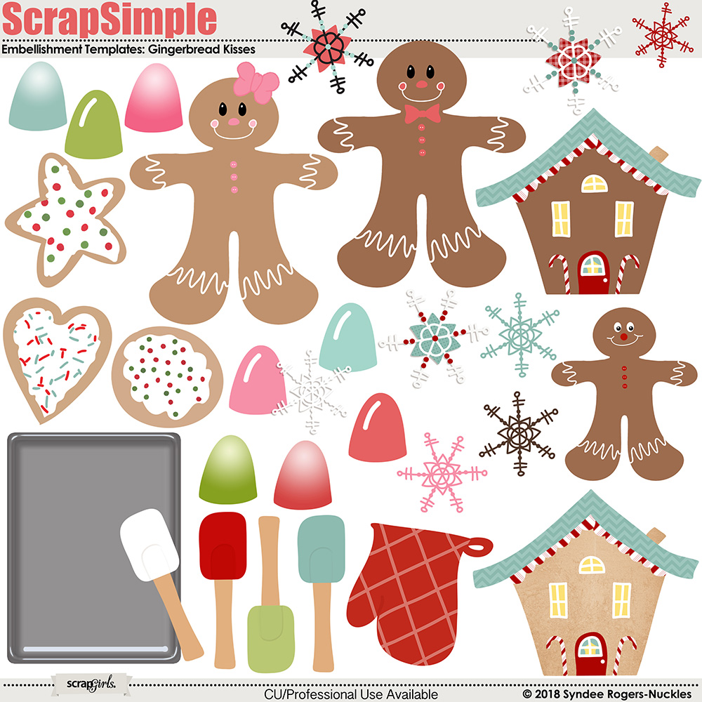 Gingerbread Kisses Embellishment templates and illustrations