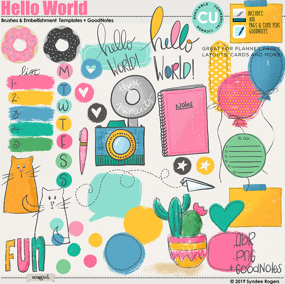 Hello World Illustrations and Goodnotes
