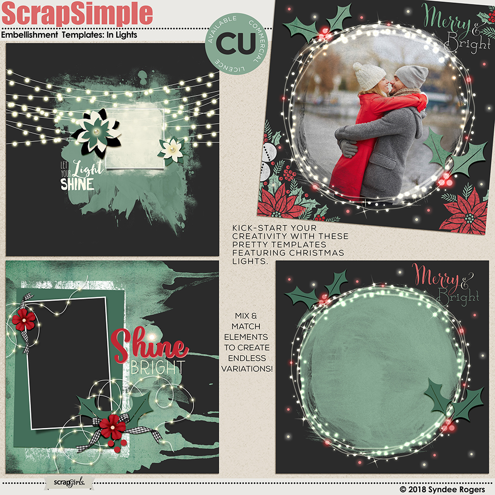 In Lights digital scrapbook layout templates