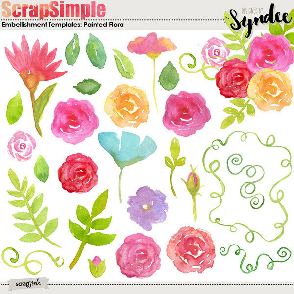 Painted Flora Watercolor Embellishment Templates