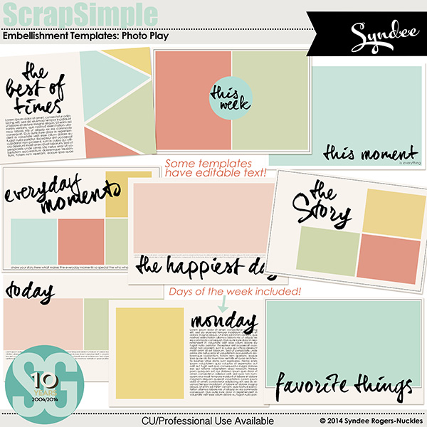 ScrapSimple Embellishment Templates: Photo Play