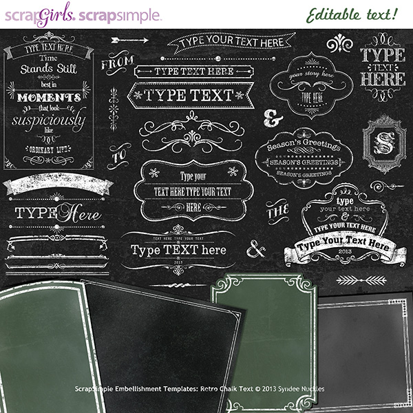 ScrapSimple Embellishment Templates: Retro Chalk Text