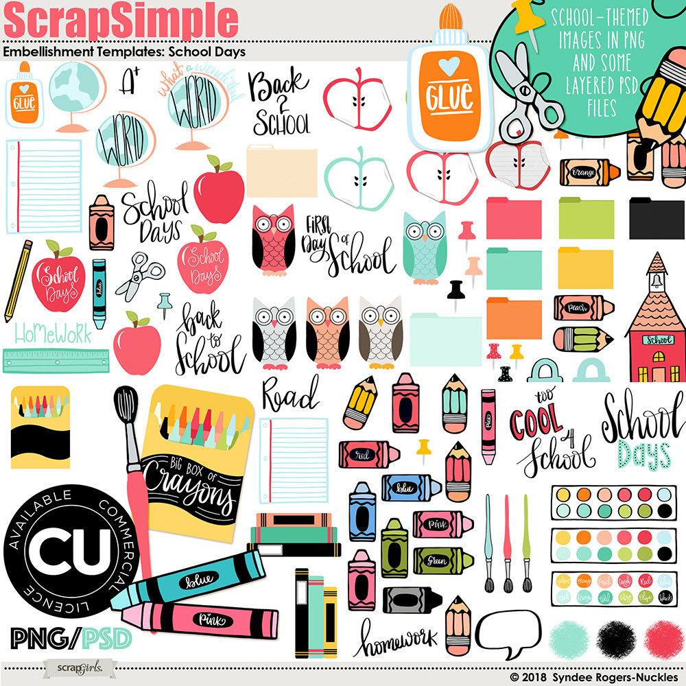 School Days Clip art and Template set